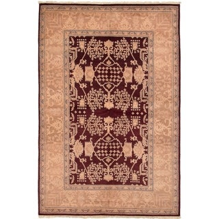 ECARPETGALLERY  Hand-knotted Chobi Twisted Dark Red Wool Rug - 6'3 x 9'5