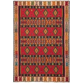 ECARPETGALLERY  Flat-weave Kashkoli FW Red Wool Kilim - 6'7 x 9'6