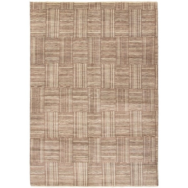 ECARPETGALLERY Hand-knotted Finest Ziegler Chobi Dark Brown, Light Grey Wool Rug - 6'0 x 8'10