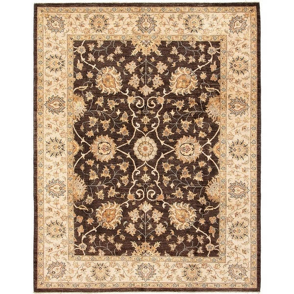 ECARPETGALLERY Hand-knotted Chobi Finest Dark Brown Wool Rug - 8'2 x 10'5