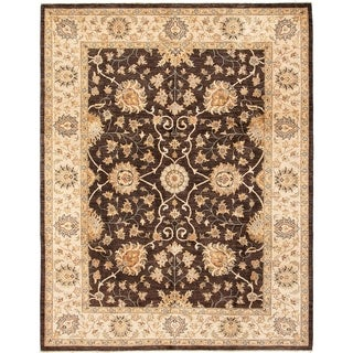 ECARPETGALLERY  Hand-knotted Chobi Finest Dark Brown Wool Rug - 8'2 x 10'5