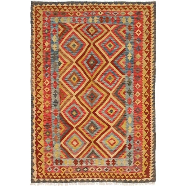 ECARPETGALLERY Flat-weave Hereke FW Red Wool Kilim - 5'10 x 8'8