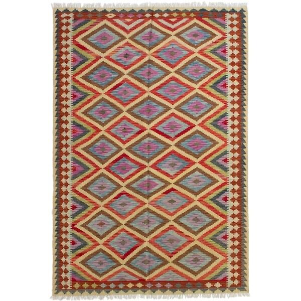 ECARPETGALLERY Flat-weave Hereke FW Red Wool Kilim - 5'7 x 8'4
