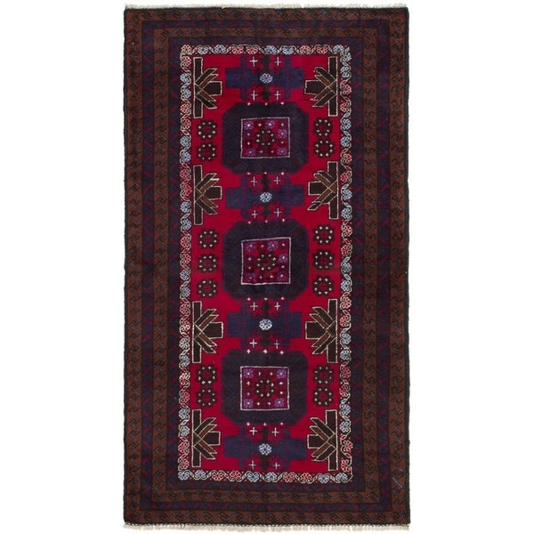 ECARPETGALLERY Hand-knotted Teimani Red Wool Rug - 3'5 x 6'5