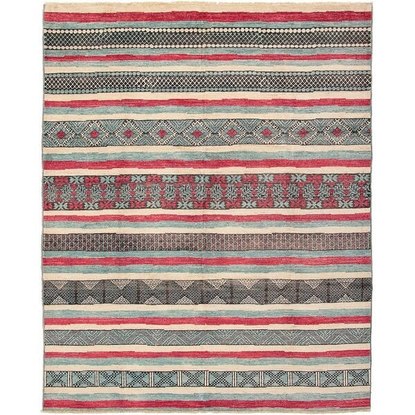 ECARPETGALLERY Hand-knotted Shalimar Dark Red, Light Blue Wool Rug - 9'4 x 11'9