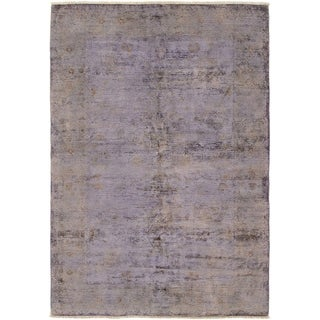 ECARPETGALLERY  Hand-knotted Color transition Light Violet Wool Rug - 6'3 x 8'10