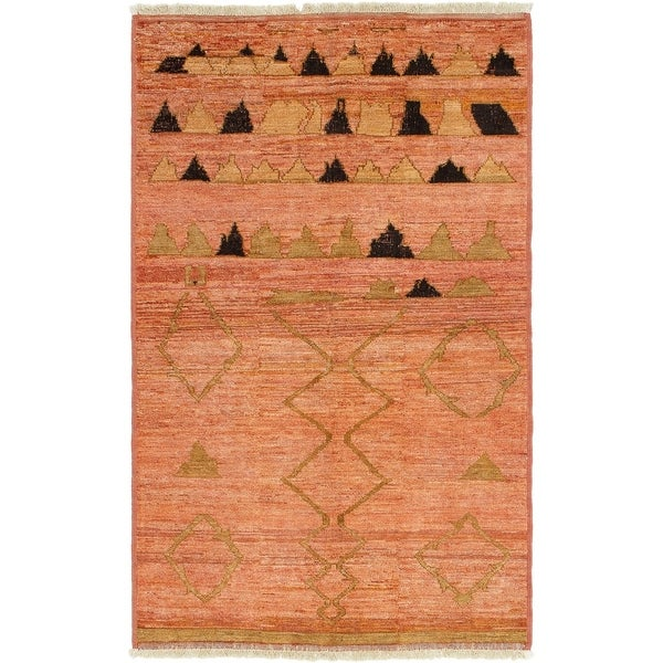 ECARPETGALLERY Hand-knotted Tangier Salmon Wool Rug - 4'10 x 7'9