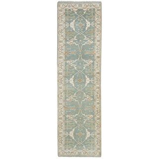 ECARPETGALLERY  Hand-knotted Royal Ushak Light Turquoise Wool Rug - 2'8 x 9'11