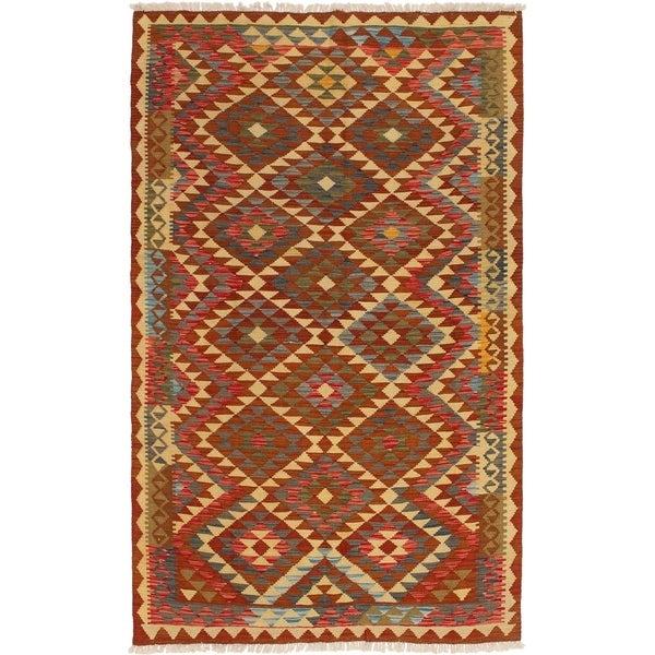 ECARPETGALLERY Flat-weave Kashkoli FW Dark Navy, Red Wool Kilim - 5'3 x 8'6