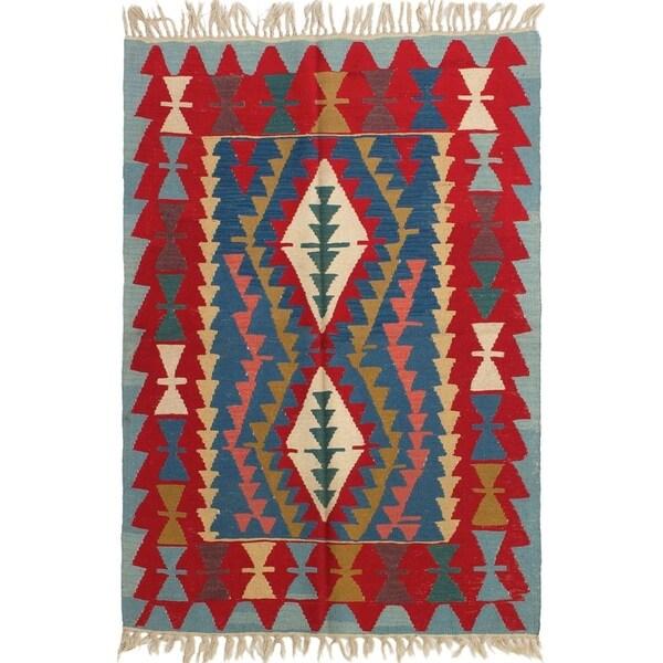 ECARPETGALLERY Flat-weave Ankara FW Dark Blue, Red Wool Kilim - 3'11 x 5'7