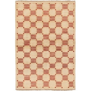 ECARPETGALLERY  Hand-knotted Finest Ziegler Chobi Cream Wool Rug - 4'0 x 6'0