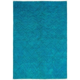 ECARPETGALLERY  Hand-knotted Vibrance Sky Blue Wool Rug - 6'0 x 8'10