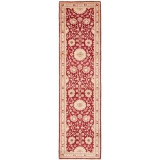 ECARPETGALLERY  Hand-knotted Chobi Finest Dark Red Wool Rug - 2'7 x 10'0