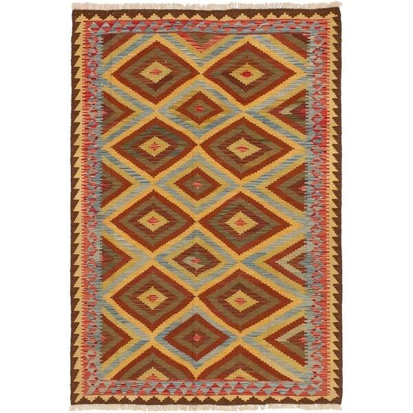 ECARPETGALLERY Flat-weave Hereke FW Brown, Sky Blue Wool Kilim - 5'3 x 7'10