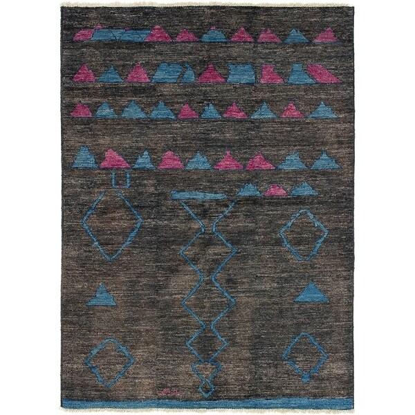 ECARPETGALLERY Hand-knotted Tangier Dark Brown Wool Rug - 6'3 x 9'0