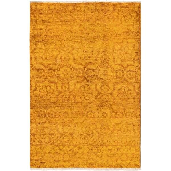 ECARPETGALLERY Hand-knotted Vibrance Dark Gold Wool Rug - 4'0 x 6'0