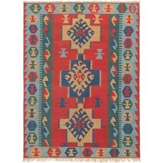 ECARPETGALLERY  Flat-weave Kashkoli FW Red Wool Kilim - 5'7 x 7'9