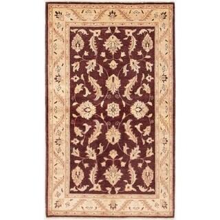 ECARPETGALLERY  Hand-knotted Chobi Finest Dark Burgundy Wool Rug - 3'10 x 6'3
