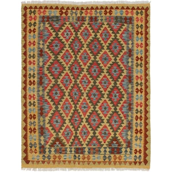 ECARPETGALLERY Flat-weave Kashkoli FW Red Wool Kilim - 4'10 x 6'2
