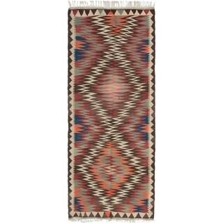ECARPETGALLERY  Flat-weave Hereke FW Dark Red Wool Kilim - 3'10 x 10'3