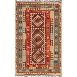 ECARPETGALLERY  Flat-weave Hereke FW Red Wool Kilim - 5'4 x 8'10