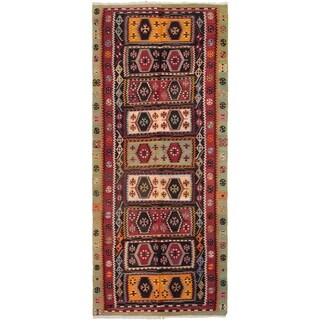 ECARPETGALLERY  Flat-weave Kashkoli FW Dark Red Wool Kilim - 5'2 x 12'4
