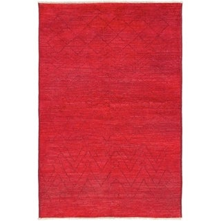 ECARPETGALLERY  Hand-knotted Vibrance Red Wool Rug - 6'0 x 9'1