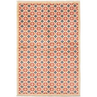 ECARPETGALLERY  Hand-knotted Finest Ziegler Chobi Cream Wool Rug - 6'8 x 9'10