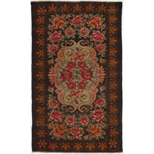 ECARPETGALLERY Flat-weave Yoruk Dark Navy Wool Kilim - 6'4 x 10'7