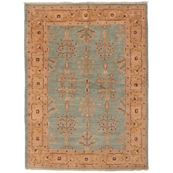 ECARPETGALLERY Hand-knotted Chobi Finest Light Blue Wool Rug - 5'10 x 7'10