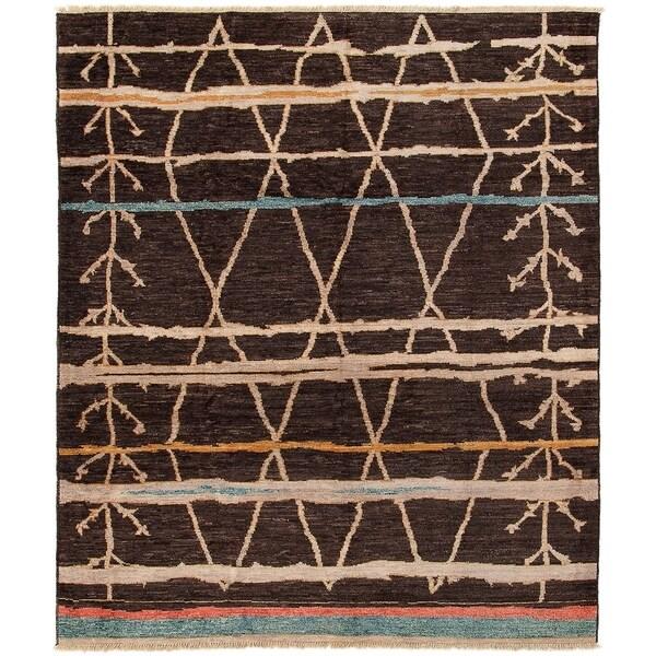 ECARPETGALLERY Hand-knotted Tangier Dark Brown Wool Rug - 8'3 x 9'9