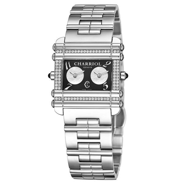 Charriol Women's CCHDTD.110.HDT01 'Actor' Black Dial Stainless Steel Diamond Dual Time Quartz Watch