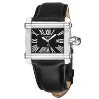Charriol Women's CCHL.361.H003 'Actor' Black Dial Black Leather Strap Quartz Watch