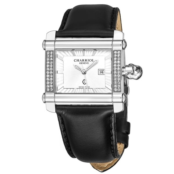 Charriol Women's CCHLD.361.H001 'Actor' Silver Dial Black Leather Strap Diamond Quartz Watch
