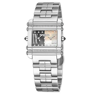 Charriol Women's CCHDTD1.110.HDT03 'Actor' Grey/Mother of Pearl Dial Stainless Steel Diamond Dual Time Quartz Watch