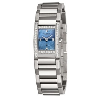 Charriol Women's MGVSD1.400.862 'Megeve' Blue Mother of Pearl Dial Stainless Steel Diamond Quartz Watch