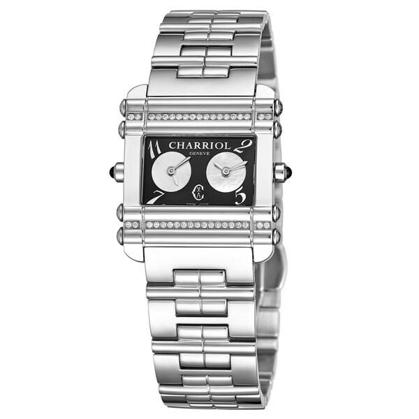 Charriol Women's CCHDTD1.110.HDT01 'Actor' Black Dial Stainless Steel Diamond Dual Time Quartz Watch