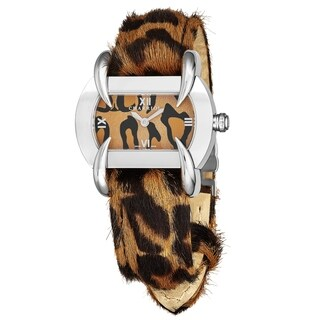 Charriol Women's KUCHTS.234.KTS002 'Kucha' Brown Leopard Dial Leopard Calf Hair Leather Strap Quartz Watch
