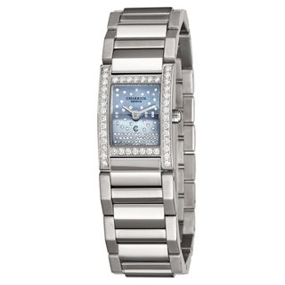 Charriol Womens MGVSD1.400.863 'Megeve' Grey Mother of Pearl Diamond Dial Stainless Steel Diamond Quartz Watch