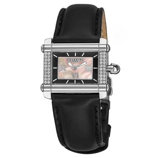 Charriol Women's CCHSD.361.HS02 'Actor' Mother of Pearl/Grey Dial Black Leather Strap Quartz Watch