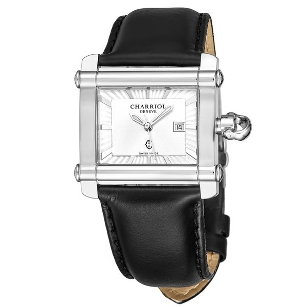 Charriol Women's CCHL.361.H001 'Actor' Silver Dial Black Leather Strap Quartz Watch