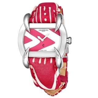 Charriol Women's KUCHTL.231.KTL007 'Kucha' Pink/White Dial Pink/White Striped Leather/Fabric Strap Quartz Watch