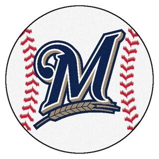 """FANMATS MLB - Milwaukee Brewers Baseball Mat Ball Mat 27"""" diameter - 2'3"""" Round"""