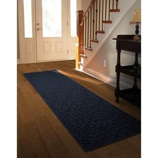 Porch & Den Helvetia Dark Blue Ivy Pattern Runner Rug Ivy Pattern Runner