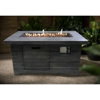 Colombo Weathered Brown Wood Rectangular Gas Fire Pit