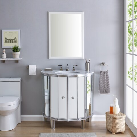 Silver Orchid MacDonald Mirrored Vanity Sink w/Marble