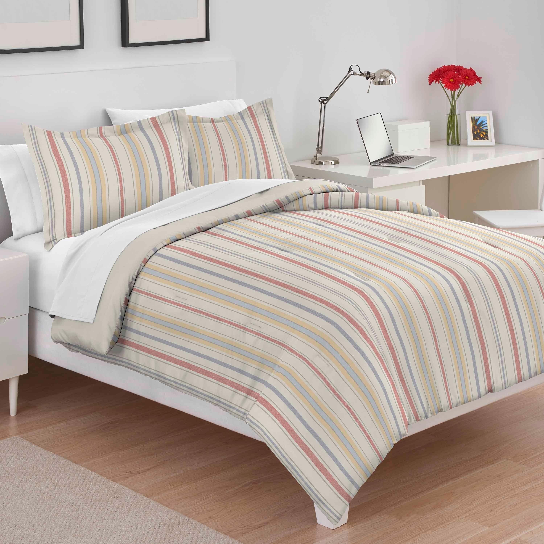 Martex Sarah Stripe Tan Comforter Set Overstock 25685017