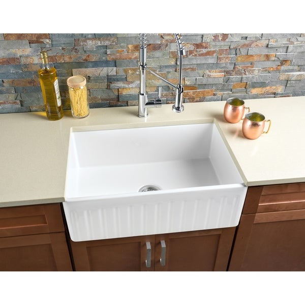 Hahn Notched Farmhouse Kitchen Sink: Shop Hahn FireClay Large Reversible Single Bowl Farmhouse
