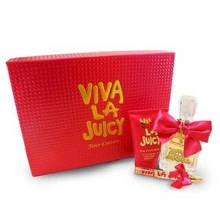 Viva La Juicy 3 Pc. Gift Set ( Eau De Parfum Spray 3.4 Oz + Bodycreme Souffle 4.2 Oz + Eau De Parfum Spray .33 Oz )