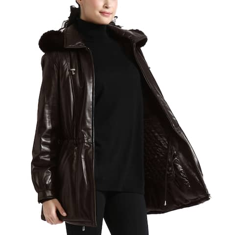 1cd01a5d5c8302 Tanners Avenue Women's Espresso Brown Lambskin Leather Anorak Parka With  Detachable Hood